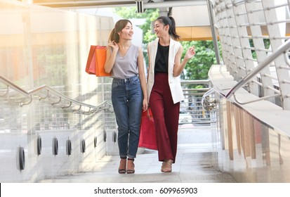 Shopping time with happy women.