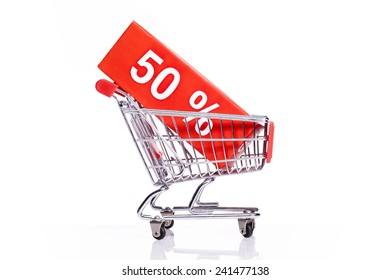 shopping trolley with 50% discount sign
