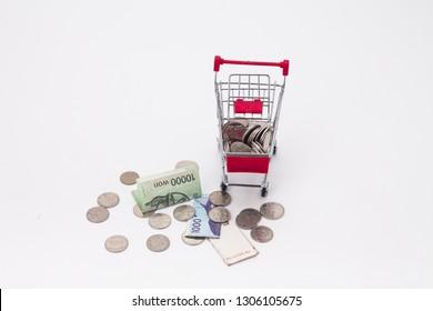 Shopping trolley bring money coins and korean bills