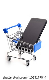 Shopping trolley with cellphone inside