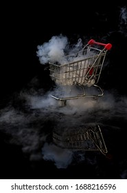 Shopping Trolley with dry ice smoke and black background