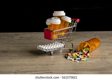 Shopping trolley filled with prescription medication