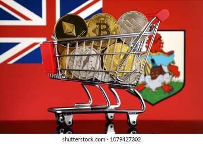 Shopping Trolley full of physical version of Cryptocurrencies (Bitcoin, Litecoin, Dash, Ethereum) and Bermuda Flag.
