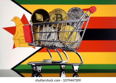 Shopping Trolley full of physical version of Cryptocurrencies (Bitcoin, Litecoin, Dash, Ethereum) and Zimbabwe Flag.