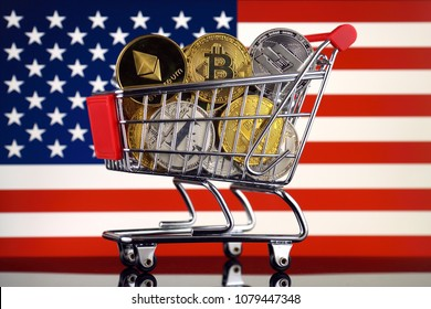 Shopping Trolley full of physical version of Cryptocurrencies (Bitcoin, Litecoin, Dash, Ethereum) and United States Flag.