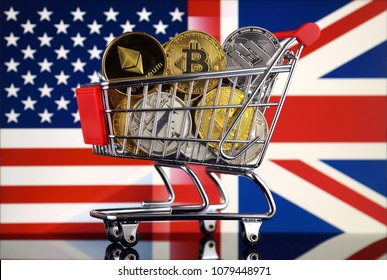 Shopping Trolley full of physical version of Cryptocurrencies (Bitcoin, Litecoin, Dash, Ethereum) and United States and United Kingdom Flag.
