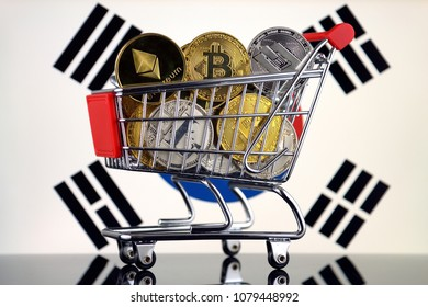 Shopping Trolley full of physical version of Cryptocurrencies (Bitcoin, Litecoin, Dash, Ethereum) and South Korea Flag.