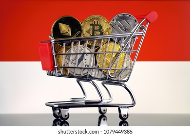Shopping Trolley full of physical version of Cryptocurrencies (Bitcoin, Litecoin, Dash, Ethereum) and Monaco Flag.