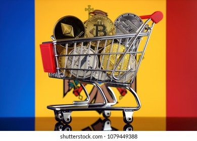 Shopping Trolley full of physical version of Cryptocurrencies (Bitcoin, Litecoin, Dash, Ethereum) and Moldova Flag.