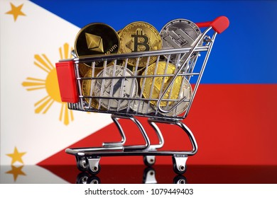 Shopping Trolley full of physical version of Cryptocurrencies (Bitcoin, Litecoin, Dash, Ethereum) and Philippines Flag.