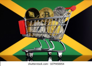 Shopping Trolley full of physical version of Cryptocurrencies (Bitcoin, Litecoin, Dash, Ethereum) and Jamaica Flag.