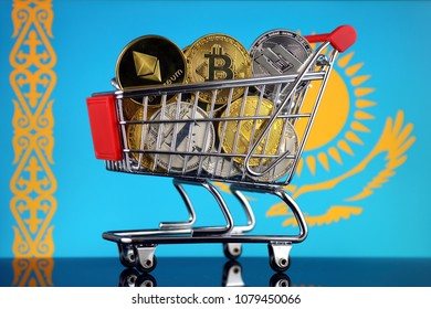 Shopping Trolley full of physical version of Cryptocurrencies (Bitcoin, Litecoin, Dash, Ethereum) and Kazakhstan Flag.