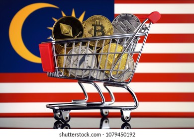 Shopping Trolley full of physical version of Cryptocurrencies (Bitcoin, Litecoin, Dash, Ethereum) and Malaysia Flag.