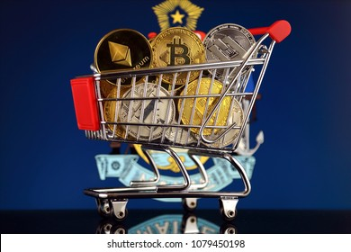 Shopping Trolley full of physical version of Cryptocurrencies (Bitcoin, Litecoin, Dash, Ethereum) and Maine State Flag.