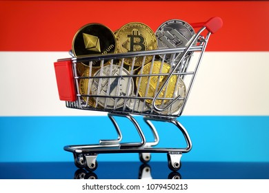 Shopping Trolley full of physical version of Cryptocurrencies (Bitcoin, Litecoin, Dash, Ethereum) and Luxembourg Flag.