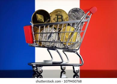 Shopping Trolley full of physical version of Cryptocurrencies (Bitcoin, Litecoin, Dash, Ethereum) and France Flag.