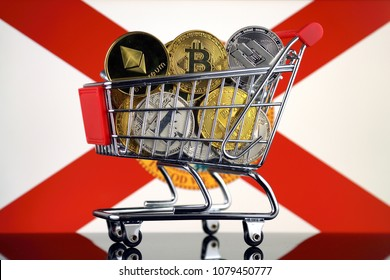 Shopping Trolley full of physical version of Cryptocurrencies (Bitcoin, Litecoin, Dash, Ethereum) and Florida State Flag.