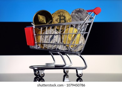 Shopping Trolley full of physical version of Cryptocurrencies (Bitcoin, Litecoin, Dash, Ethereum) and Estonia Flag.