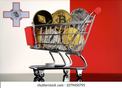 Shopping Trolley full of physical version of Cryptocurrencies (Bitcoin, Litecoin, Dash, Ethereum) Malta Flag.