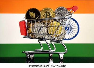 Shopping Trolley full of physical version of Cryptocurrencies (Bitcoin, Litecoin, Dash, Ethereum) and India Flag.