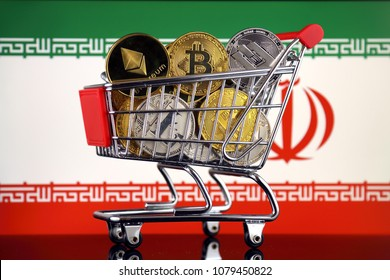 Shopping Trolley full of physical version of Cryptocurrencies (Bitcoin, Litecoin, Dash, Ethereum) and Iran Flag.