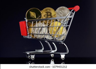 Shopping Trolley full of physical version of Cryptocurrencies (Bitcoin, Litecoin, Dash, Ethereum).