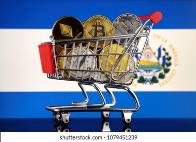 Shopping Trolley full of physical version of Cryptocurrencies (Bitcoin, Litecoin, Dash, Ethereum) and El Salvador Flag.