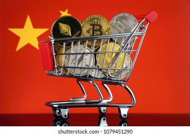 Shopping Trolley full of physical version of Cryptocurrencies (Bitcoin, Litecoin, Dash, Ethereum) and China Flag.