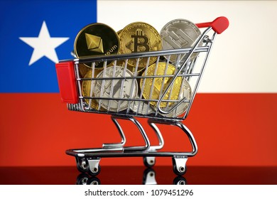 Shopping Trolley full of physical version of Cryptocurrencies (Bitcoin, Litecoin, Dash, Ethereum) and Chile Flag.