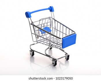 Shopping trolley on white background