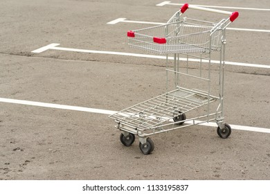 Shopping trolley in the super market in the parking lot