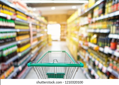 Shopping trolley in supermarket store.