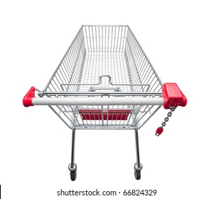 shopping trolley viewed from above on white background