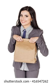 Shopping woman holding paper bag