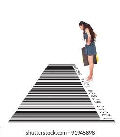 Shopping, woman looking down bar-code