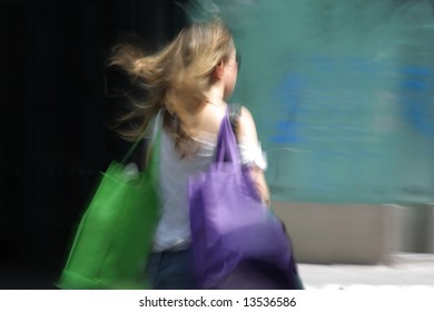 shopping. young women with bags in the city