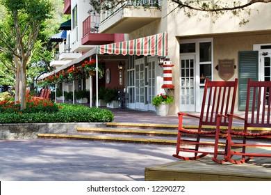 Shops along the harbor at Harbour Town, Hilton Head, SC