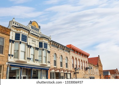 Shops along main street, in the midwestern usa
