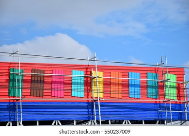 Shops are made from colorful metal sheet