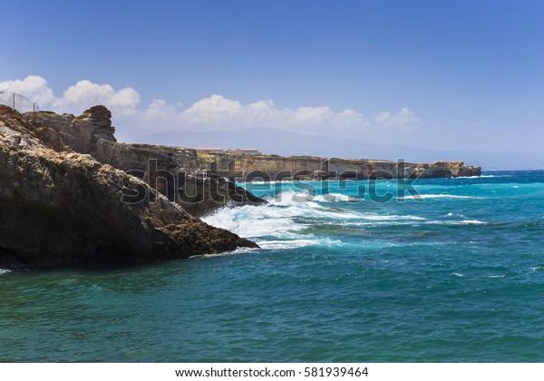 Shore of the Aegean Sea in Crete, Greece.
