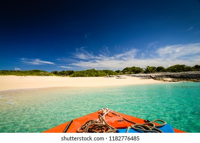 Shore arrival on Scrub Island, a caye near the Caribbean island of Anguilla.