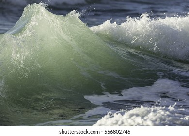 Shore Break/ a wave rearing up and breaking in the shore line of a beach