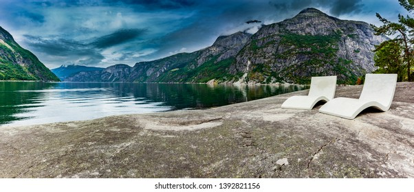 Shore at the Eidfjord in Norway