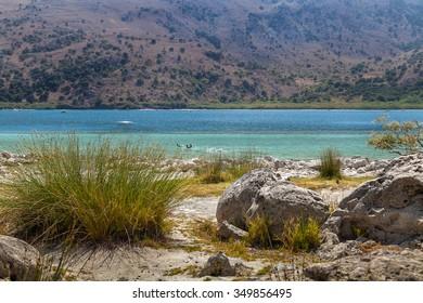Shore of the Kournas lake. Greece. Crete