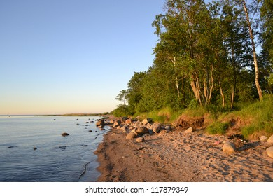 Shore of Lake Ladoga in the early morning, Russia