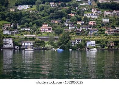 Shore of Lake Maggiore,Locarno, Switzerland.