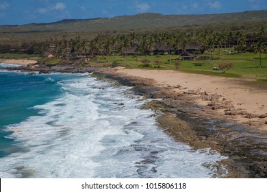 Shore line at at Papohaku Beach Park on the west shore of molokai, Hawaii.