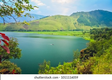 Shore of the magnificent Lake Toba on the Sumatra Island, Indonesia