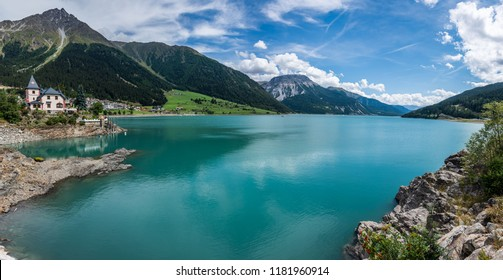 The shore of the Reschensee in Vinschgau, South Tyrol