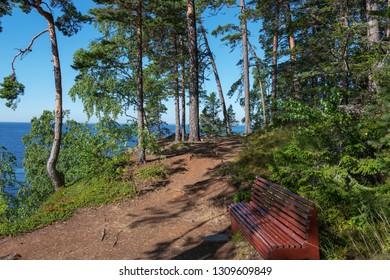The shore of the skete of Alexander Svirsky_2. The wonderful island Valaam is located on Lake Lodozhskoye, Karelia. Balaam - a step to heaven